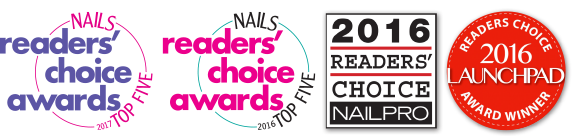 Nails readers' choice awards 2017 and 2016 top five, 2016 readers' chioce nail pro, and readers choice 2016 launchpad award winner