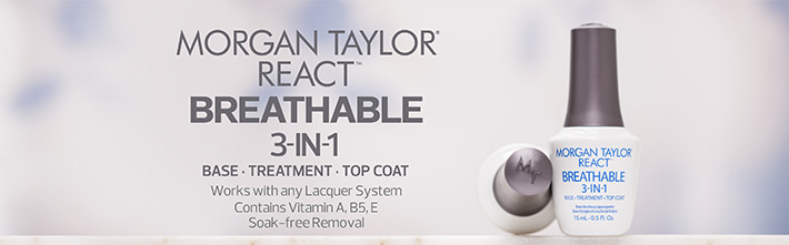 Morgan Taylor React Breathable 3 in 1. Base - Treatment - Topcoat. Works with any lacquer system. Contains vitamins A, B5, E. Soak-Free removal