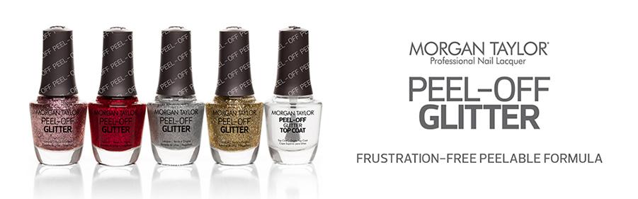 Morgan Taylor, professional nail lacquer. Peel-off Glitter. Frustration-free peelable formula