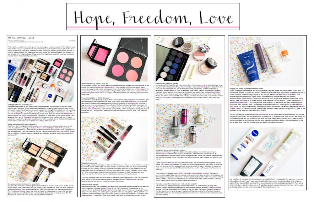 HOPE, FREEDOM, LOVE - October, 2016